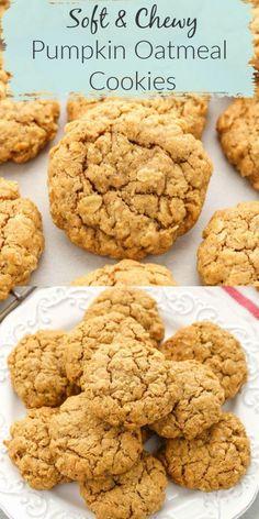 Pumpkin Oatmeal Cookies, Pumpkin Cookie Recipe, Pumpkin Dessert, Oatmeal Dessert, Pumpkin Baking Recipes, Healthy Pumpkin Recipes, Healthy Pumpkin Cookies, Pumpkin Spice, Pumpkin Breakfast Cookies