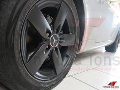 Pintura preto fosco roda Mercedes SLK.