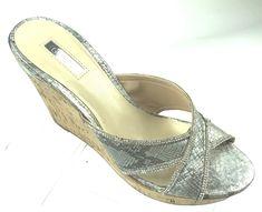 9c81053702b GUESS Eleonora Platform Wedge Slide Cork Sandal 10M Snake Print Peep Toe  Silver  GUESS