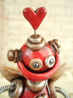 Cupid Robot Rustic Red Ruprecht    Valentine's by RobotsAreAwesome, $45.00