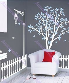 tree and birds: wall decals, children wall decals,vinyl wall decal, wall stickers,nursery wall stickers,tree wall decals,tree wall art,