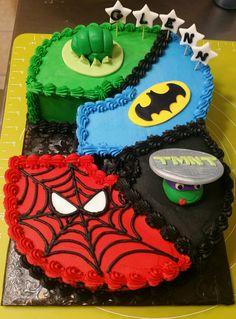 Hulk, Spider-Man, Tmnt, and Batman Cake