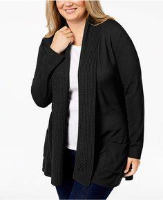 1a5491a2fbe Karen Scott Plus Size Textured Shawl-Collared Cardigan Sweater