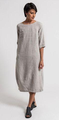 Oska Linen Tuyet Dress in Natural | Santa Fe Dry Goods