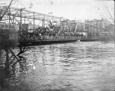 "crowd on the Navarro Street ""Old Mill Crossing"" Bridge, Oct 1913..a flood two months prior to the Dec flood"