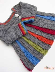 How-To: Crocheted Rainbow Baby Sweater  Abi????? I thought of you when I saw this. Darling sweater!