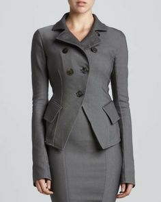 Donna Karan Button-Front Cutaway Jacket, Flint on shopstyle.com