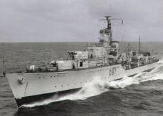 """Royal Navy - """"HMS CORUNNA"""" (D97) was a (379') Battle Class Destroyer – Commissioned: 6 June 1947 – Crew: 268 Officers and Enlisted – Armament: 5 x 4.5 Inch (115mm) Guns, 8 x 40mm Bofors AA Guns, 10 x 21 Inch (533mm) Torpedo Tubes and 2 x Sea Cat Missiles – Decommissioned: 1967 and Scrapped: 1975 (2)"""