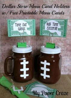Dollar Store Menu Card Holders W/ Free Printable Menu Cards - Are you ready for some FOOTBALL??? With football season in full swing, we're having a blast creati…