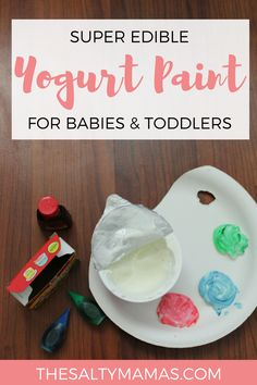 Looking for a sweet way to try your first baby art project? Try our edible fingerpaint recipe made from yogurt! Read the full details of this amazing process based toddler art project (and get the SUPER easy edible paint recipe!) at TheSaltyMamas.com. #ediplepaintrecipe #ediblepaint #ediblefingerpaint #artforbabies #babyart #toddlerart #bestpaintforbabies #paintingwithbabies #babypaint #toddlerpaint #nontoxicpaint #paintrecipe #processbasedart