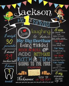 Jake and The Neverland Pirates Birthday Poster https://www.etsy.com/listing/233265233/pirate-first-birthday-chalkboard-poster