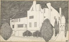 Celebrating the grand designs - some built, some not - of architect Charles Rennie Mackintosh. Architecture Drawings, Architecture Old, Charles Rennie Mackintosh Designs, Gothic, Building Drawing, Vienna Secession, Unusual Buildings, Glasgow School Of Art, House Drawing