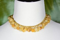 You'll be golden in this bright chain and agate charm choker that evokes vintage Gucci silk scarves. $25 at #SmallestPlanet on #Etsy. Get 15% off your entire purchase with coupon code PIN15.