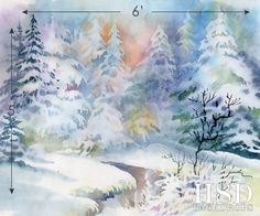 Watercolor Painted Photography Backdrop Winter Scene – HSD Photography Backdrops