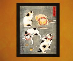 Japanese Art Print  Four Cats In Different by VintageWallGraphics
