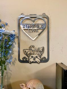 Excited to share this item from my #etsy shop: Yorkie Love Metal Wall Decor Yorkie Names, Yorkie Dogs, Dog Lover Gifts, Gift For Lover, Cow Wall Art, Scrap Material, Wine Bottle Holders, Owl Art, Metal Wall Decor