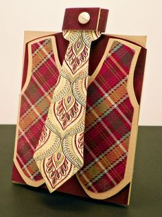 Vest and Tie card - Scrapbook.com (I love the colors and patterns ... what an awesome combination)