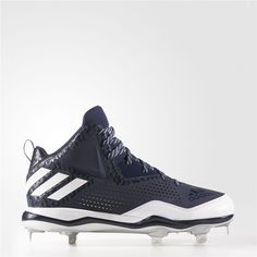 new arrival 8591d d7d3b Adidas PowerAlley 4 Mid Cleats (Collegiate Navy   Running White   Metallic  Silver) Adidas