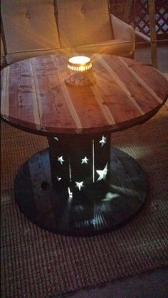 Homemade primitive table.... and it lights up!!!!!