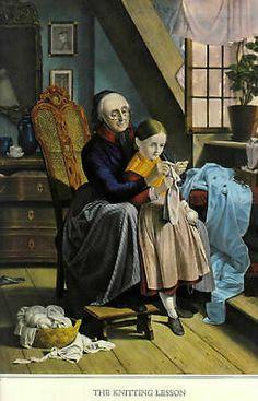 OLD PRINT KNITTING LESSON GRANDMA TEACHING CHILD KNIT