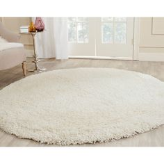 Safavieh Plush Super Dense Hand-woven Honey White Premium Shag Rug (4' Round) - Overstock™ Shopping - Great Deals on Safavieh Round/Oval/Square