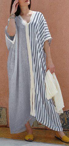 Women Half Sleeve Stripe Patchwork V-neck Loose Baggy Long Shirt Maxi Dress Midi Sundress, Maxi Shirt Dress, Abaya Fashion, Fashion Dresses, Steampunk Fashion, Gothic Fashion, Mode Kimono, Burgundy Dress, Summer Dresses For Women