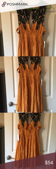 NWT free people walking through dreams L Orange florals dress  Size L $108 Free People Dresses Mini