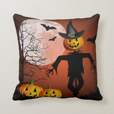 Shop Happy Halloween Throw Pillow created by FantasyPillows. Holiday Cards, Christmas Cards, Halloween Pillows, White Elephant Gifts, Bats, Happy Holidays, Happy Halloween, Halloween Decorations, Art Pieces