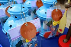 Camping Party - give away lanterns as party favours with stamped leather tags - northstory.ca