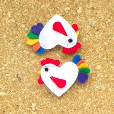 Felt Rooster Refrigerator Magnet by PaisleyMoose on Etsy