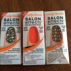 Nail Polish strips Sally Hansen salon effects real nail polish strips in zebra, bright orange color and Halloween. Orange and Halloween have never been opened before, zebra was tested but still has 12 strips!! Other