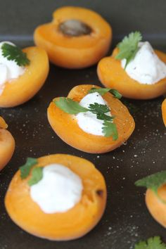 easy appetizer - apricot with creme fraiche, cilantro and fresh cracked pepper Cracked Pepper, Creme Fraiche, Some Recipe, Cilantro, Starters, Empire Hotel, Laundry, Appetizers, Vegetarian