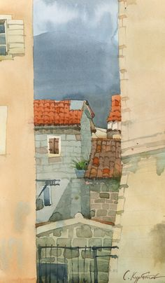 """Old town of Budva"" (watercolor on paper)"