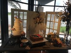 Rustic Wedding Cake and Houston Texans Grooms Cake