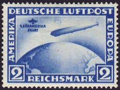 """Germany, German Empire, German Reich 1930, South America flight, 2 Rm. With plate flaw """"moon over Zeppelin"""", unused superb (postfr., Michel-no. 438 Y I / Michel EUR 700,). Price Estimate (8/2016): 120 EUR. Unsold."""