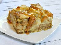 Caramel Apple Bagel Bread Pudding