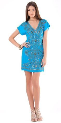 7ca65167ecb1db Blue Stretch Silk Charmeuse Beaded V Neck Dress