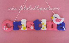 Baby name felt with bird - Nombre bebe con pajarito en fieltro