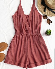 AZULINA Cross Front Rolled Up Hem Romper Women Rompers Solid Jumpsuit Summer Short Overalls Jumpsuit Female Girl Cotton Playsuit Spring Outfits, Trendy Outfits, Cute Outfits, Fashion Outfits, Womens Fashion, Trendy Fashion, Style Fashion, Brown Fashion, Fashion 2018