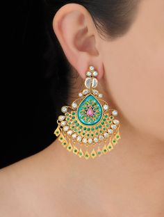 Buy Golden Green Bold Silver Earrings Pearls Glass Zircon Jewelry Royal Rewards Stone Encrusted God and Goddess Idols Statement Online at Jaypore.com