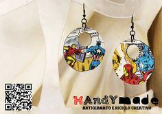 Orecchini pendenti fatti a mano in vinile e di HandyMadeItalia