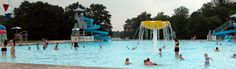 People enjoy the waterslides and sprayground at the pool at Little Buffalo State Park, Pennsylvania.  picnic, pavilions, swimming pool, play field, concession, playground, boat rental, horseshoes, restrooms, fishing, hiking, hunting, recreation hall, camping, cottages, cabin, cross-country skiing, ice fishing, ice skating, programs, special events