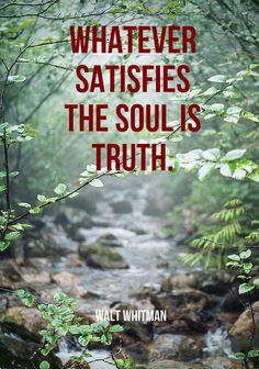 """Whatever satisfies the soul is truth.""  ― Walt Whitman"