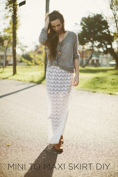 Sincerely, Kinsey: Mini to Maxi Skirt // DIY...would love to try this on time off!