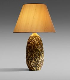 Alexandre Noll Rare table lamp France, c. 1918 gilt and carved wood, silk, brass  13¼ dia × 20¾ h in