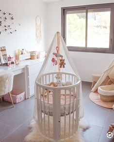 A nursery with pops of pink make our Sleepi Mini Crib stand out How did you style your Sleepi Crib? Baby Bedroom, Baby Room Decor, Kids Bedroom, Bedroom Ideas, Round Cribs, Baby Nursery Furniture, Mini Crib, Nursery Inspiration, Nursery Ideas