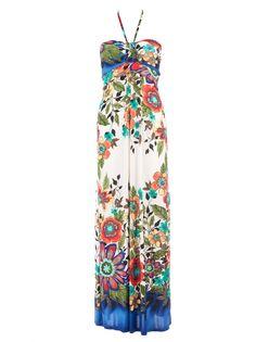 Gimy - Lange jurk met mooie bloemenprint van SisterSpoint. Deze zomerse maxijurk heeft een bijzondere haltersluiting en is gemaakt van een gladde stretchstof die mooi om je lichaam valt. Ideaal voor warme dagen, draag met een flaphoed om een extra boho accent aan je look te geven!