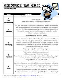 Assessing Understanding: General and Analytic Rubrics for Math Performance Tasks - The Allman Files - TeachersPayTeachers.com