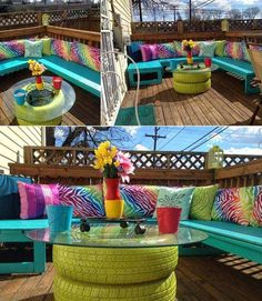 Recycle some old tires to make a colorful balcony table: 26 Tiny Furniture Ideas for Your Small Balcony