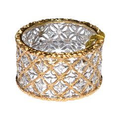 M. Buccellati Diamond Gold Band Ring | From a unique collection of vintage band rings at https://www.1stdibs.com/jewelry/rings/band-rings/